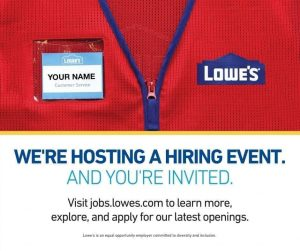Lowe's all-day hiring event on Monday, July 20th